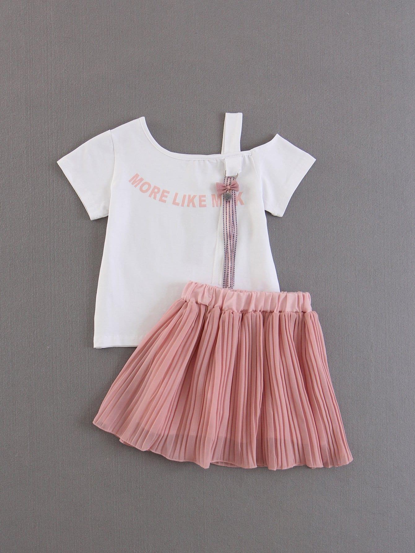 Футболка с надписью и юбка плиссированная для детей, null, SheIn  - купить со скидкой