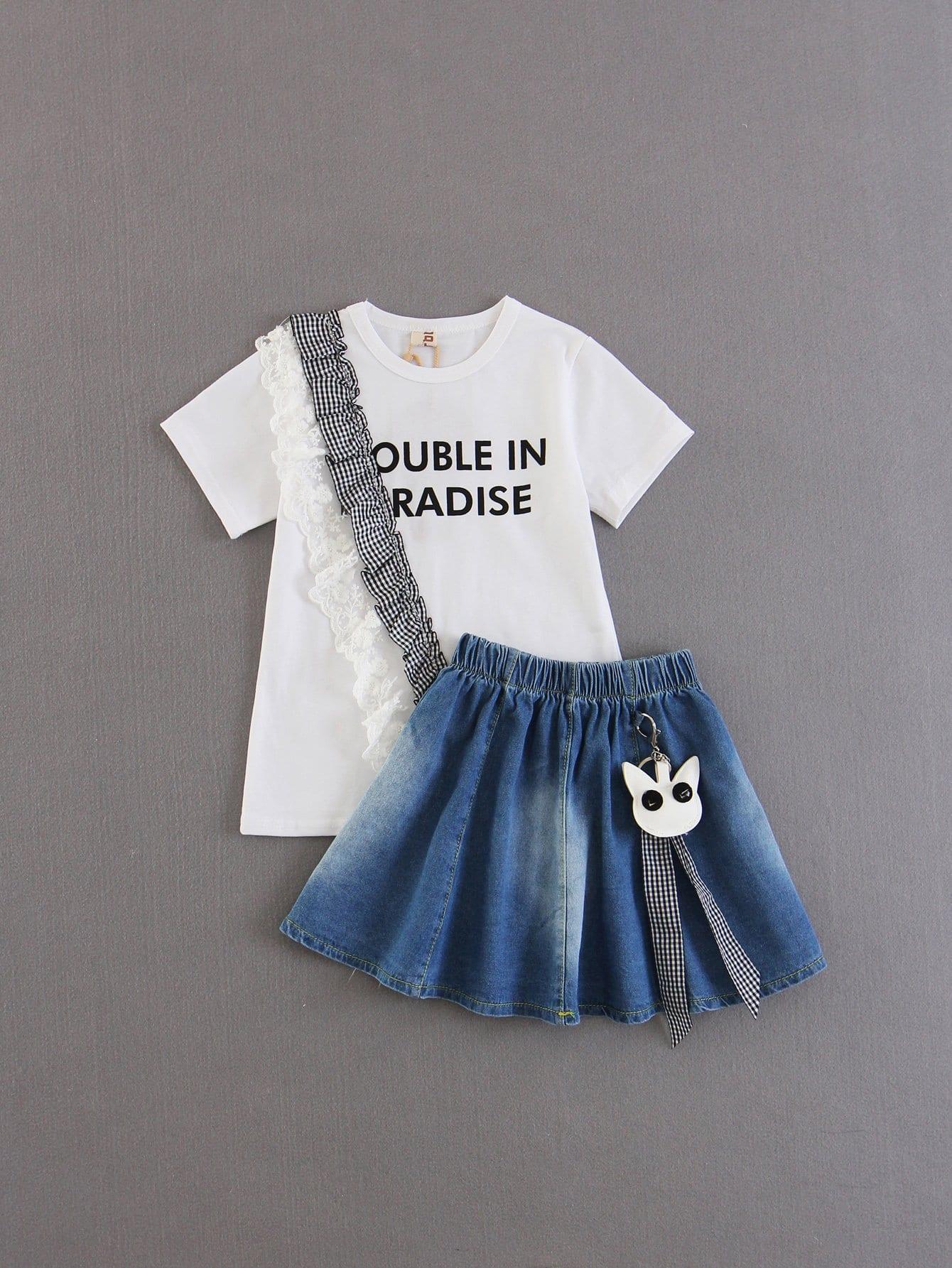 Купить Контрастная футболка с оборками для детей, null, SheIn