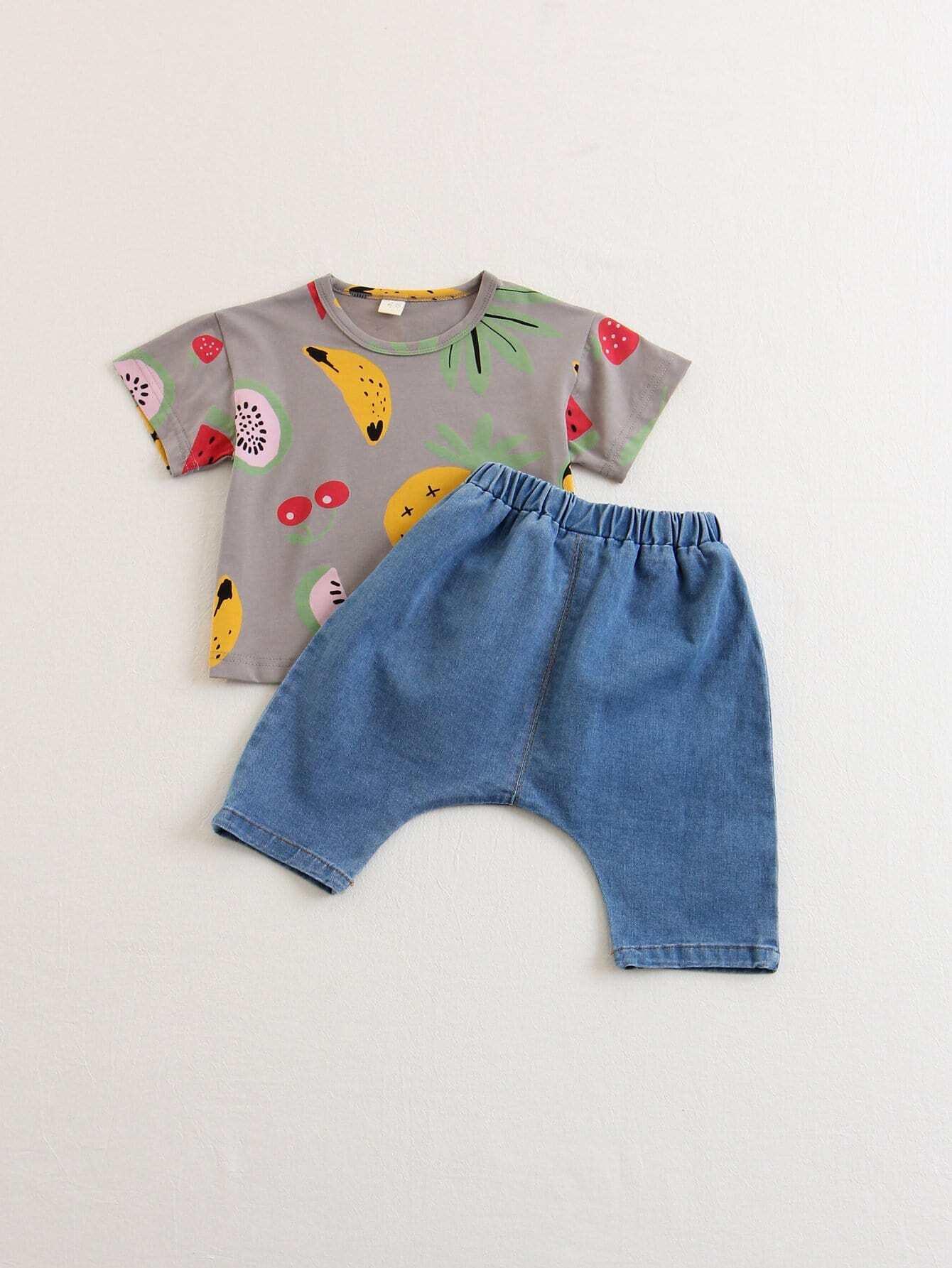 Kids Fruit Print Tee With Pants heimatlob