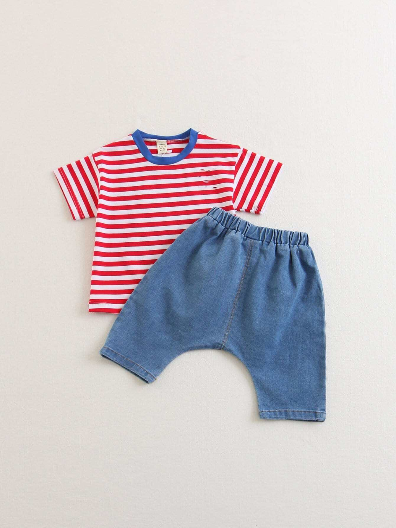 Boys Letter Print Striped Tee With Pants kids letter print sleeveless tee with tropical print pants