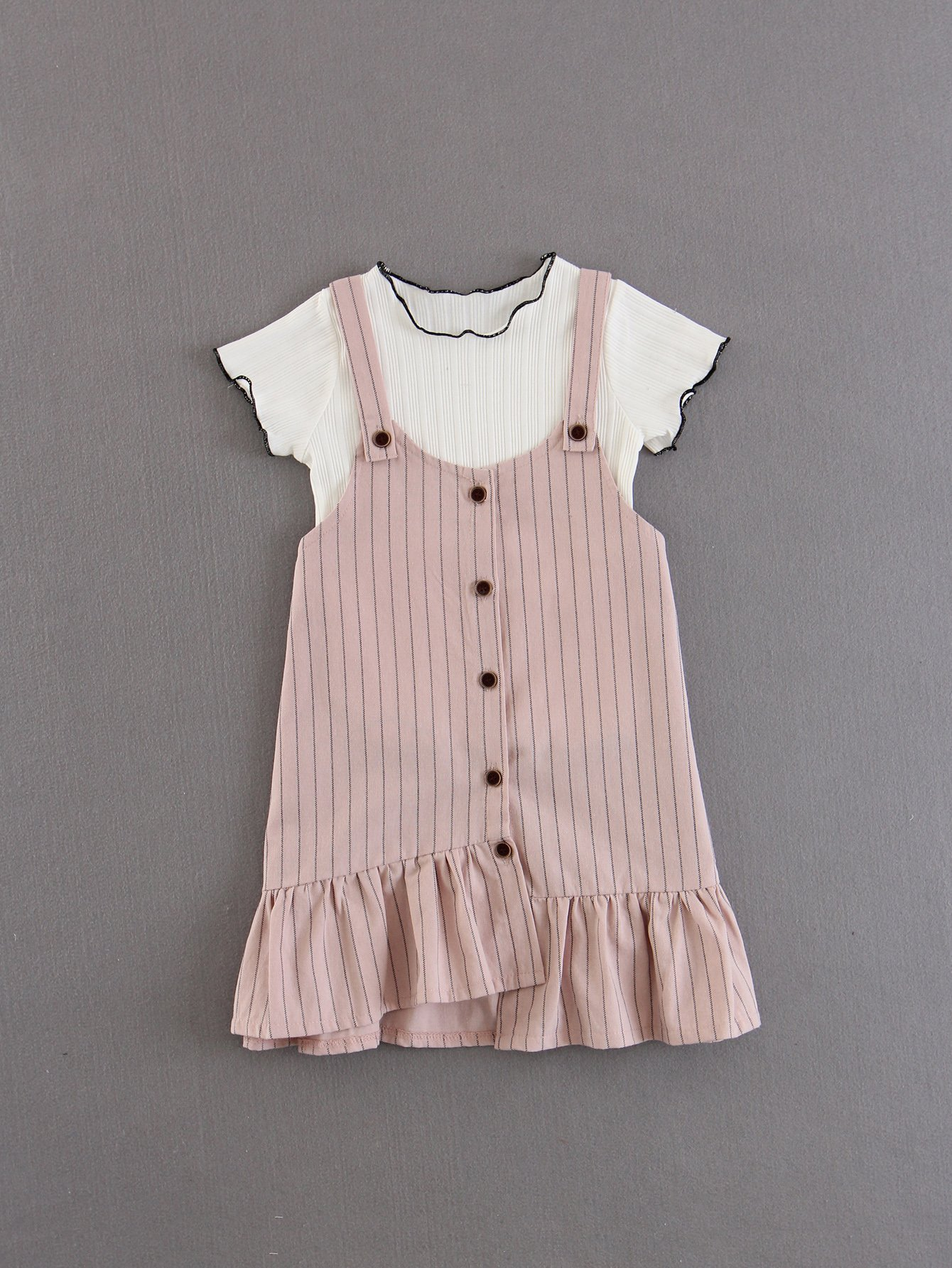 Kids Frill Trim Tee With Striped Suspender Dress frill trim tee