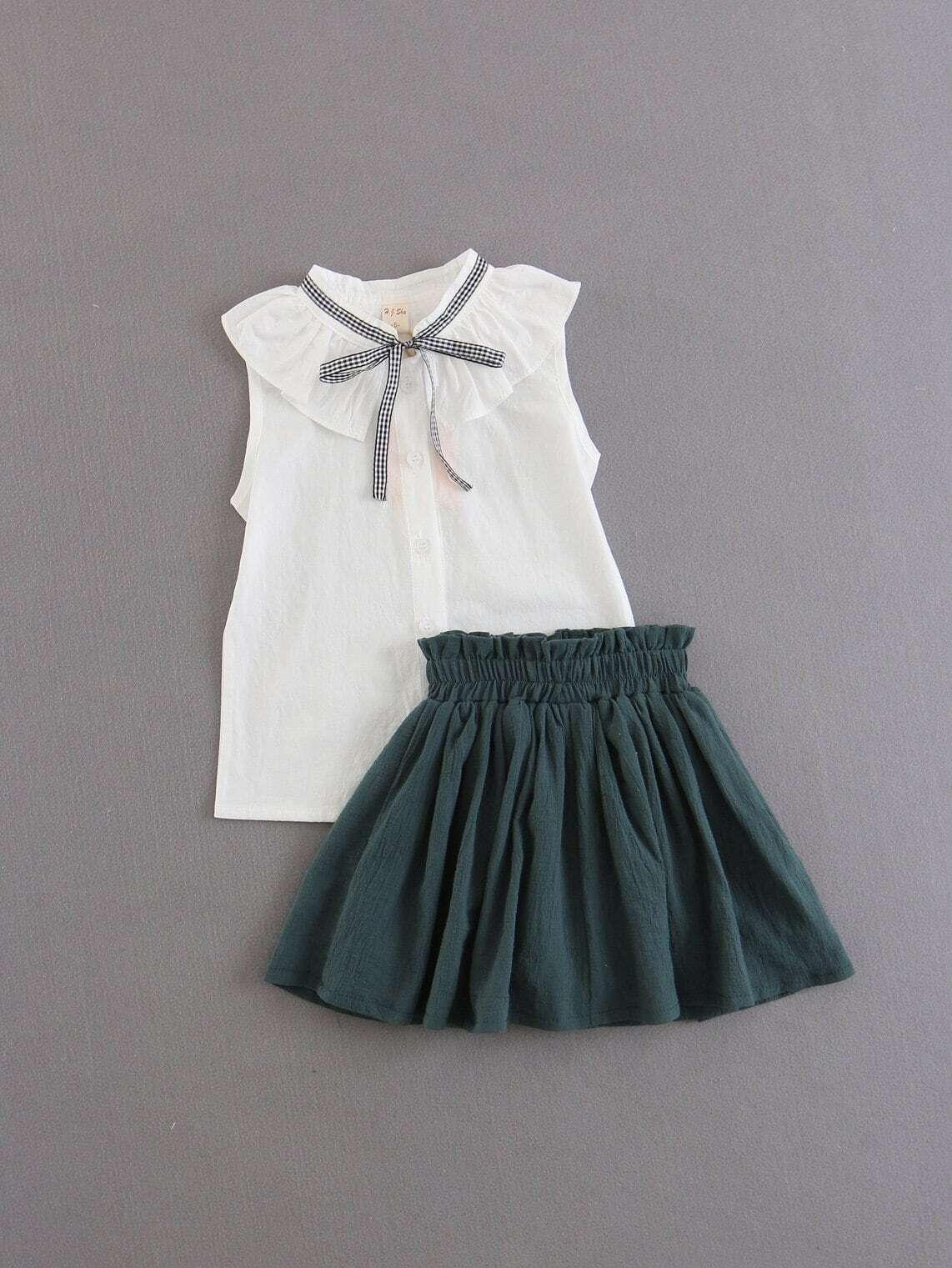 Топ с бантом и юбка для детей от SheIn