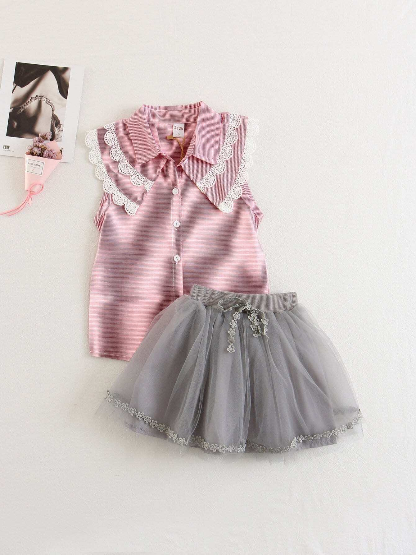 Kids Applique Striped Top With Mesh Skirt mesh shoulder lace applique bow detail striped top