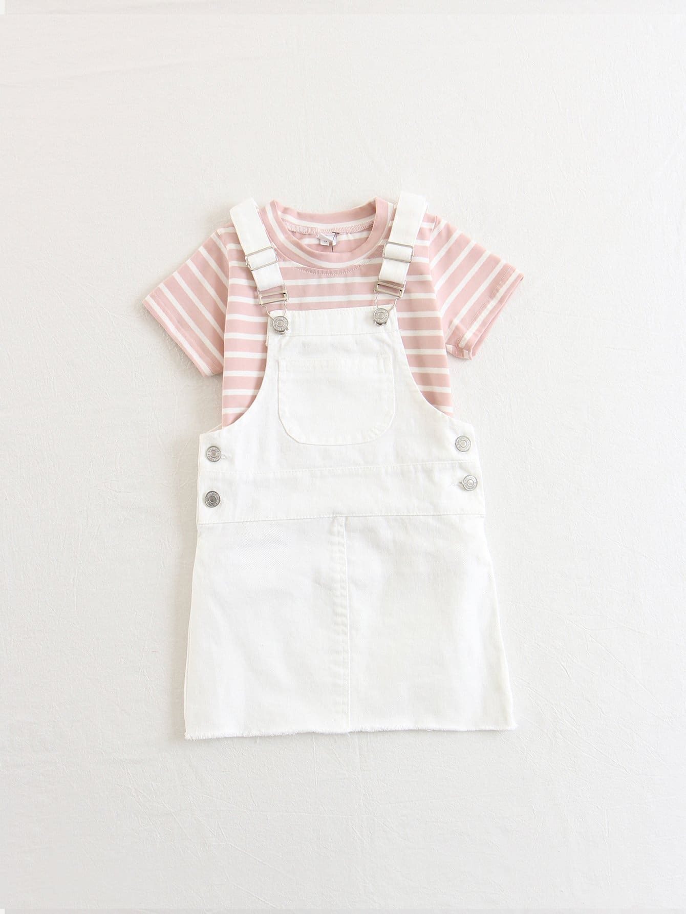 Kids Stripe Tee With Overall Dress все цены