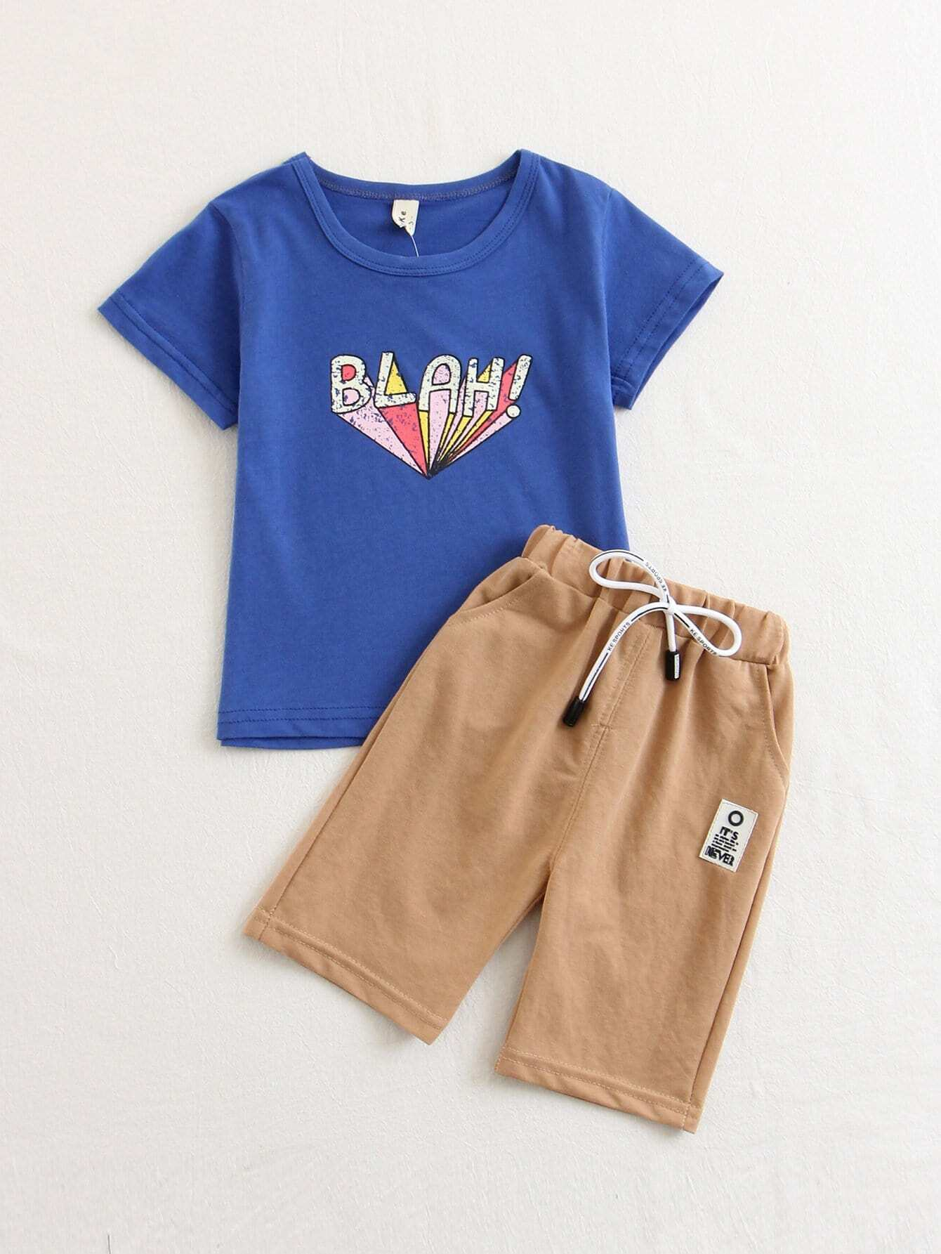 Kids Letters Printed Tee With Shorts