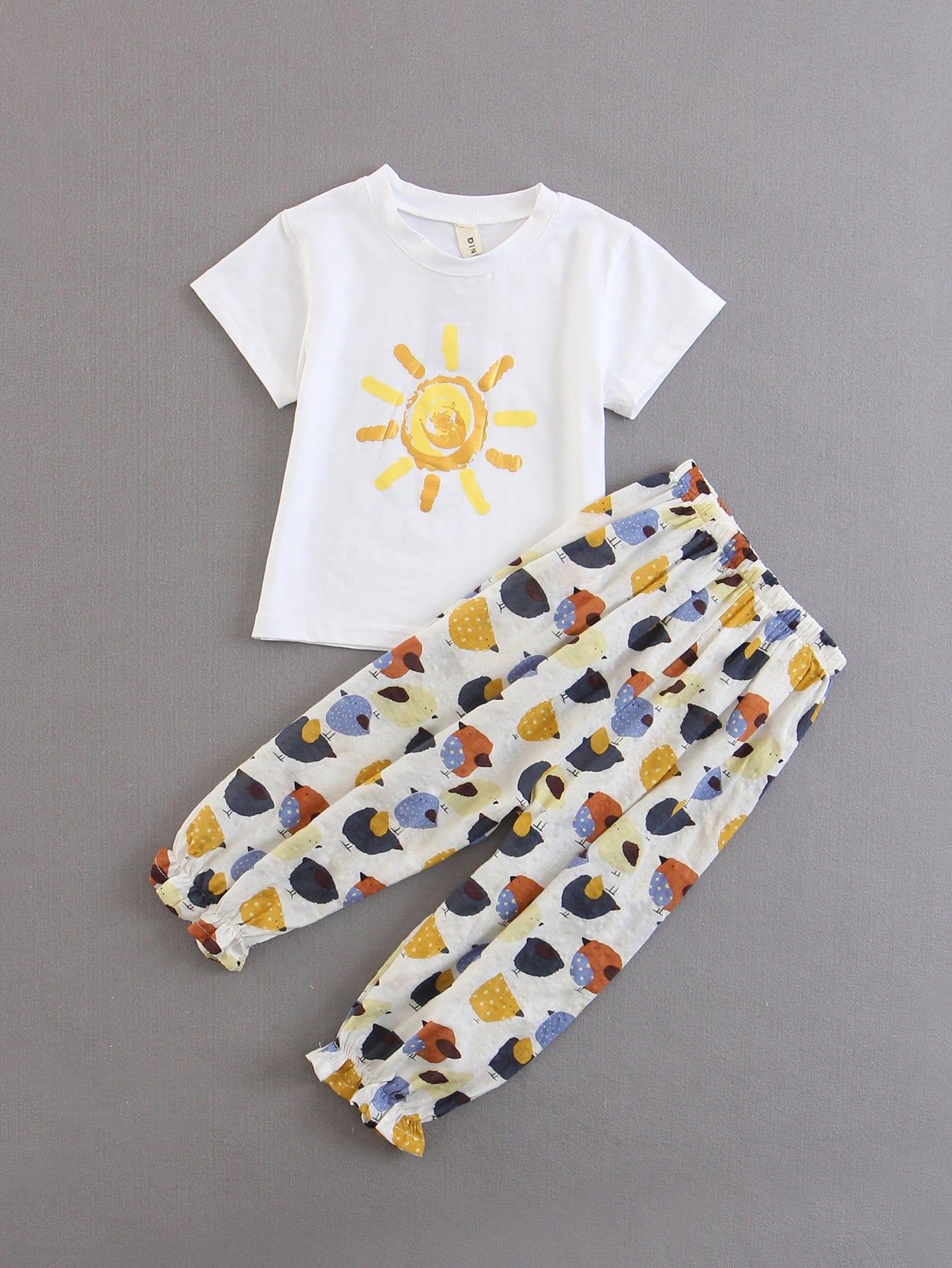 Kids Sun Printed Tee With Pants sun print tee