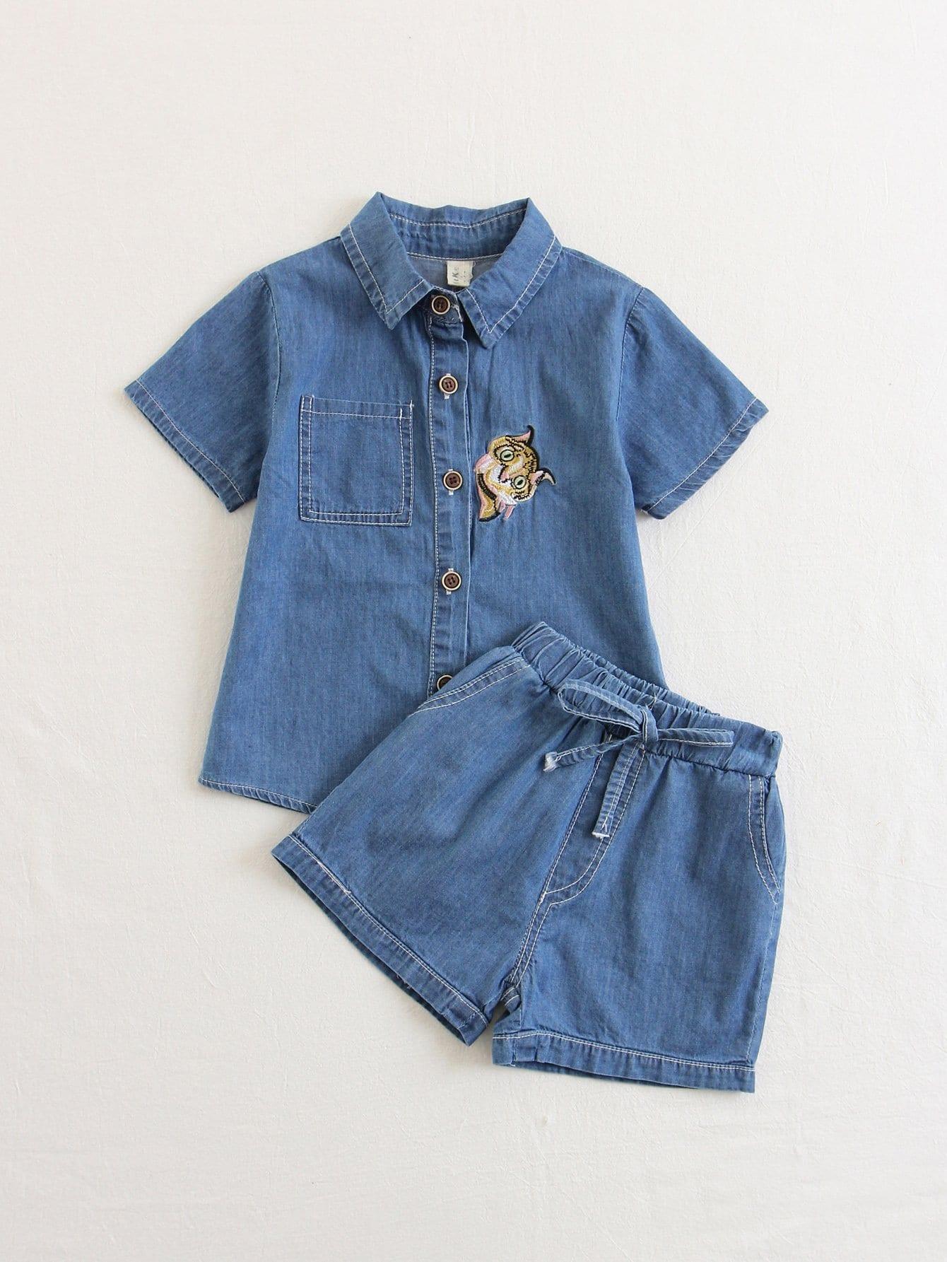 Блузка деним с вышивкой и шорты для детей, null, SheIn  - купить со скидкой