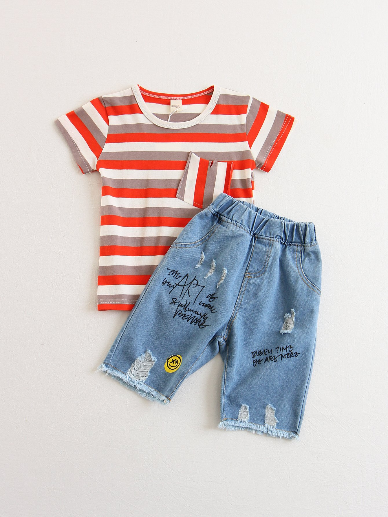 Kids Striped Pocket Front Tee With Pants kids velvet hoodie with pants