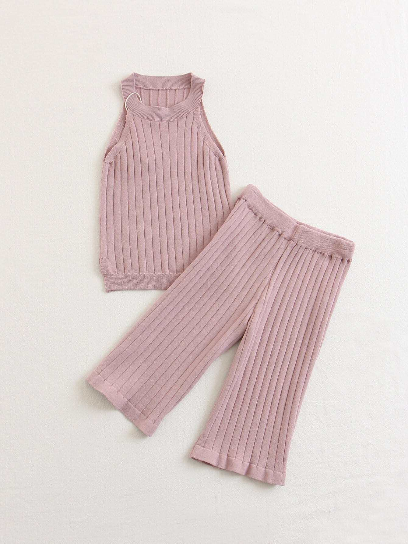 Kids Marled Rib Knit Top With Pants marled knit crop top with split skirt