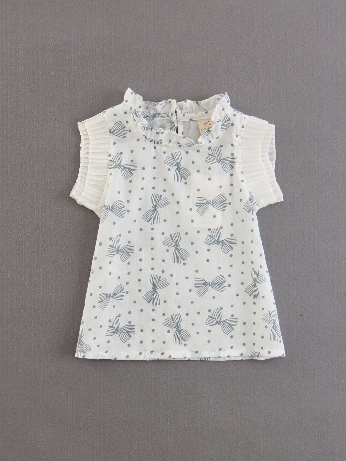 Kids Bow Print Pleated Cuff Top tiered pleated cuff solid top