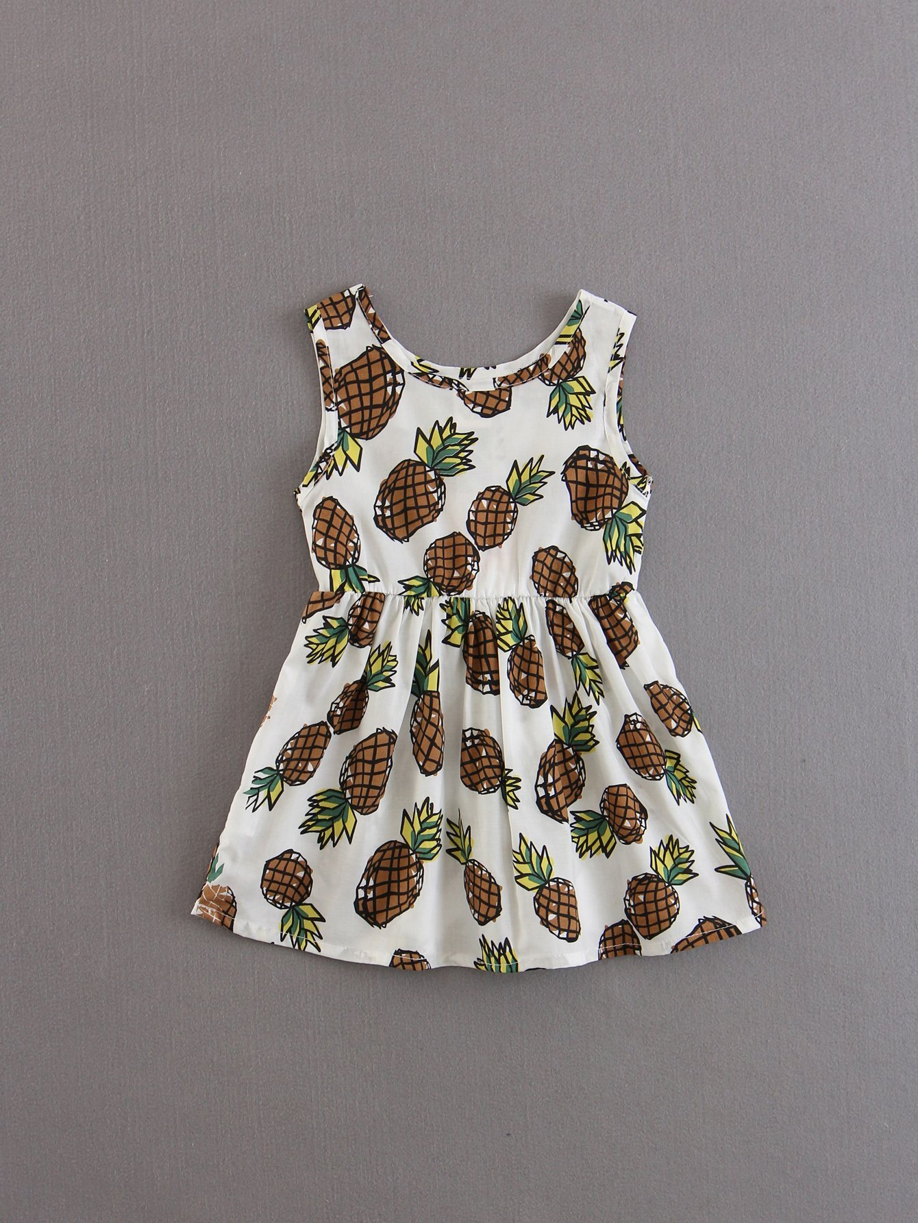 Kids Pineapple Print Dress kids pineapple print vest