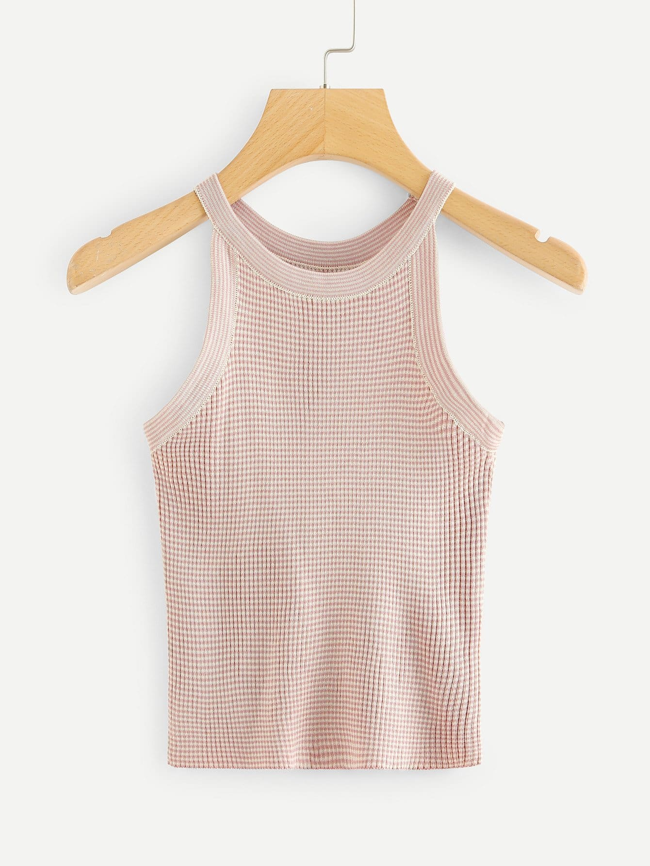 Ribbed Knit Halter Top letter embroidered ribbed knit top