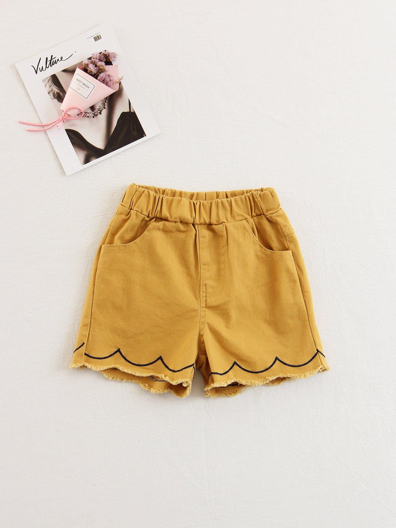 Kids Elastic Waist Scallop Shorts elastic waist geo embroidered scallop hem shorts
