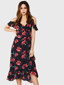 Open Shoulder Mixed Print Ruffle Hem Dress