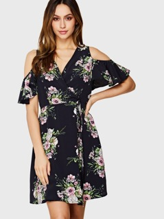 Cold Shoulder Tie Waist Surplice Wrap Floral Dress