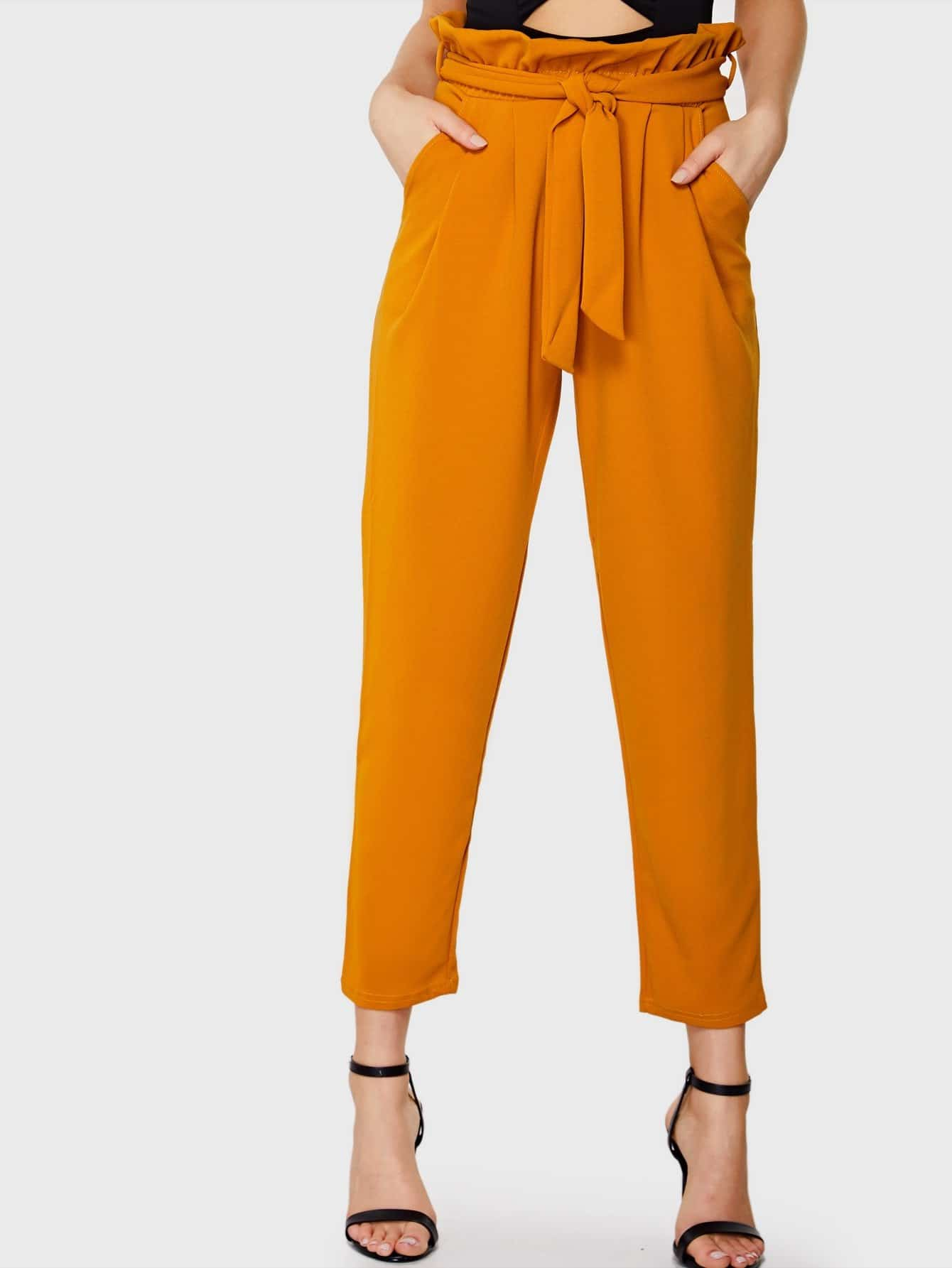Boxed Pleated Waist Tapered Leg Pants cutout knees tapered leg joggers