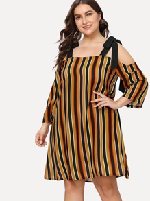 Striped Knot Detail Dress ROMWE