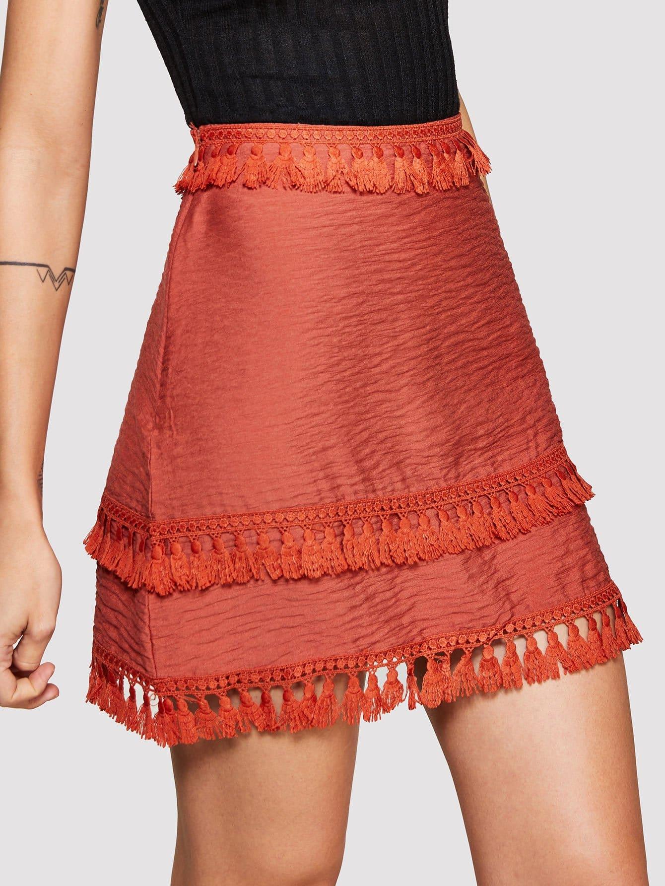 Fringe Hem Zip Up Side Skirt zip up side plaid dress