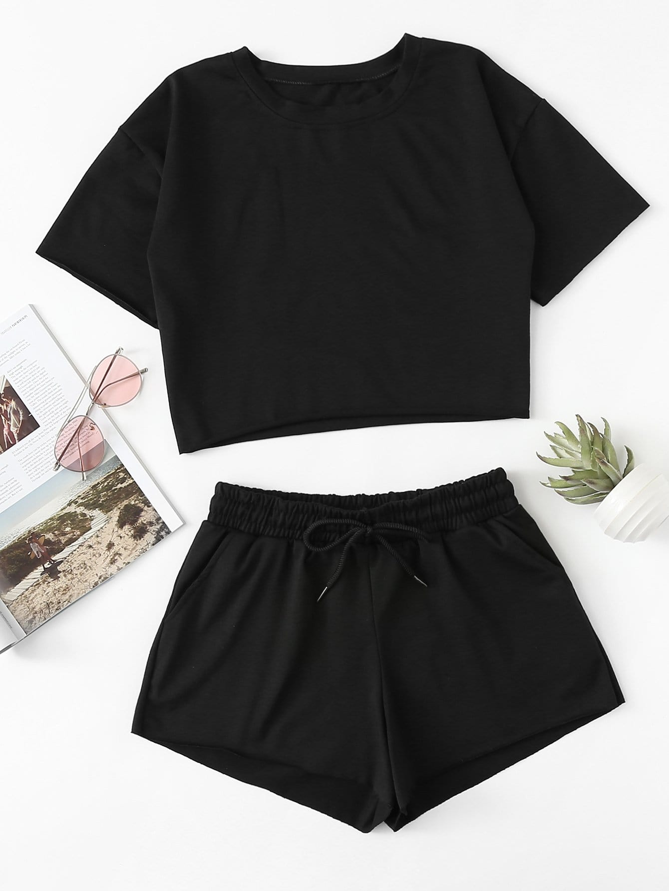Drop Shoulder Crop Tee With Shorts drop shoulder water color crop sweatshirt