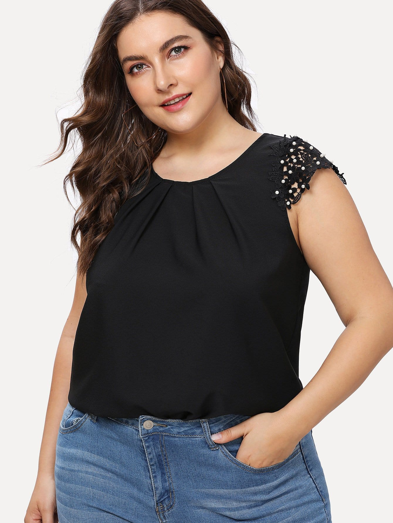 Lace Panel Pearls Detail Top lace panel yoke top