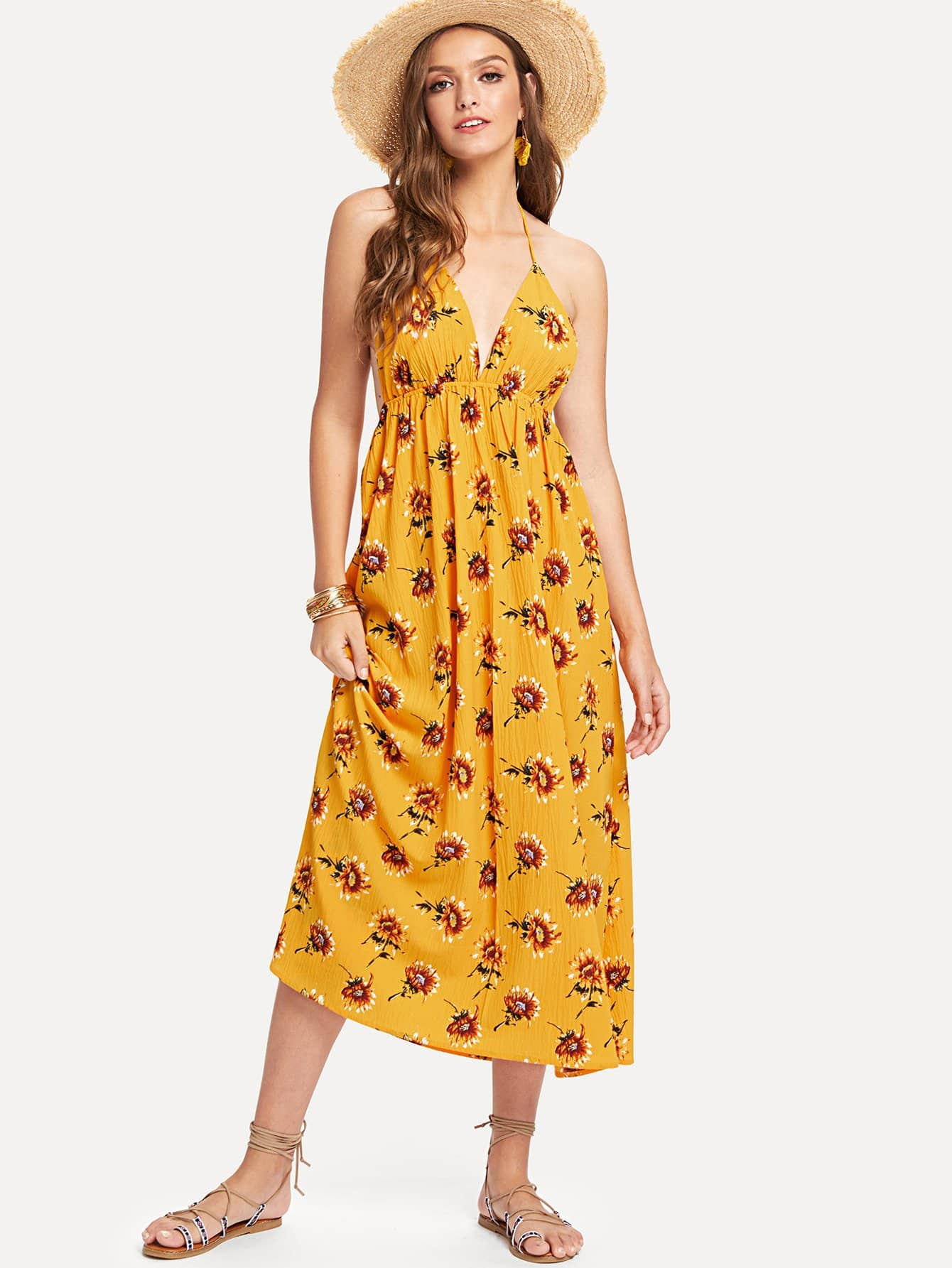 Plunge Neck Empire Waist Floral Dress floral printed empire waist dress with tube top