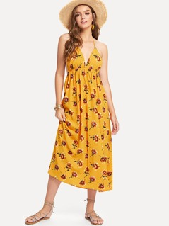 Plunge Neck Empire Waist Floral Dress