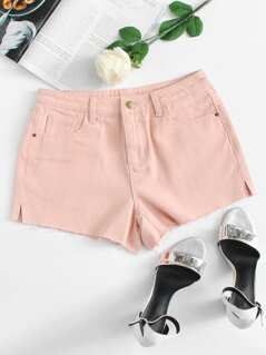 Slit Side Raw Hem Denim Shorts