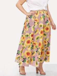 Sunflower & Stripe Print Skirt