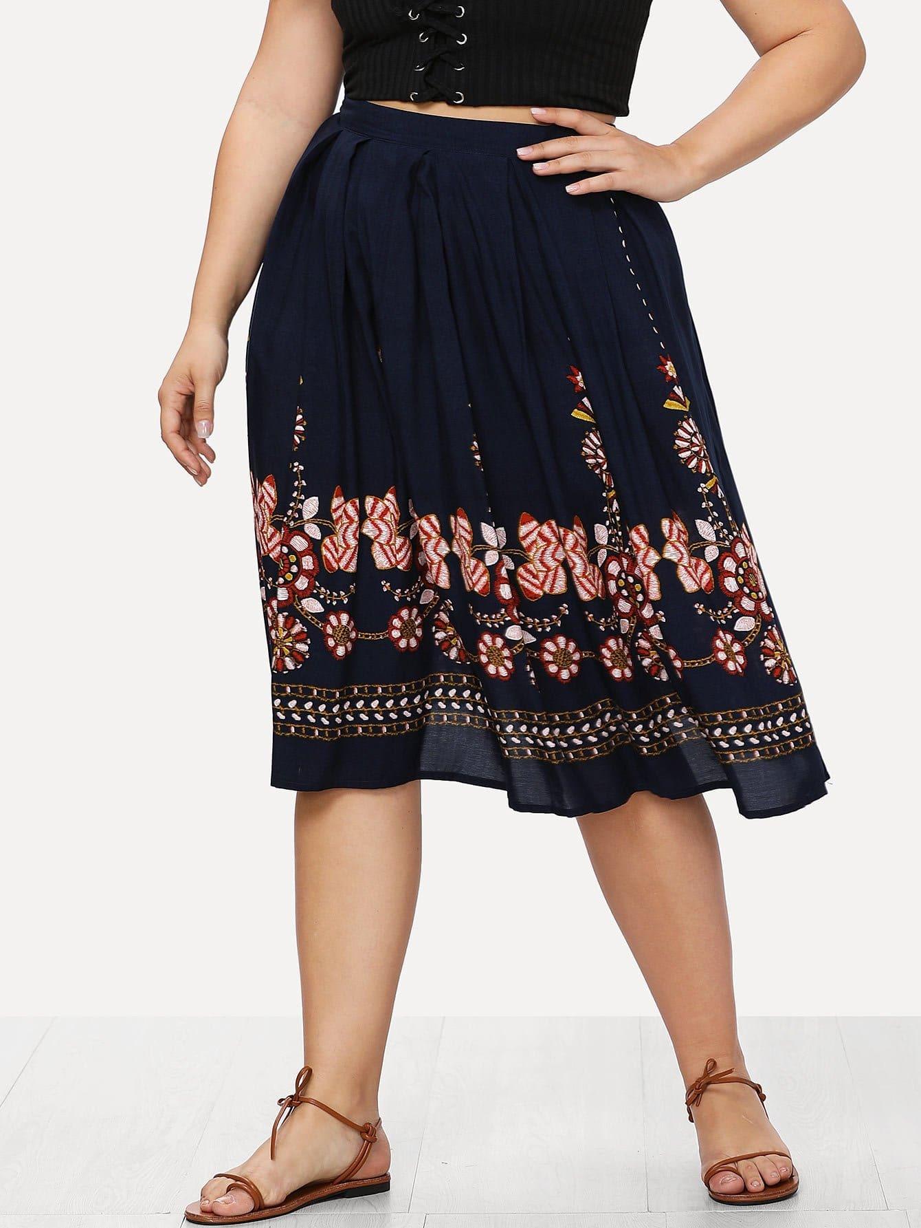 Tribal Flower Print Box Pleated Skirt flower print box pleated skirt