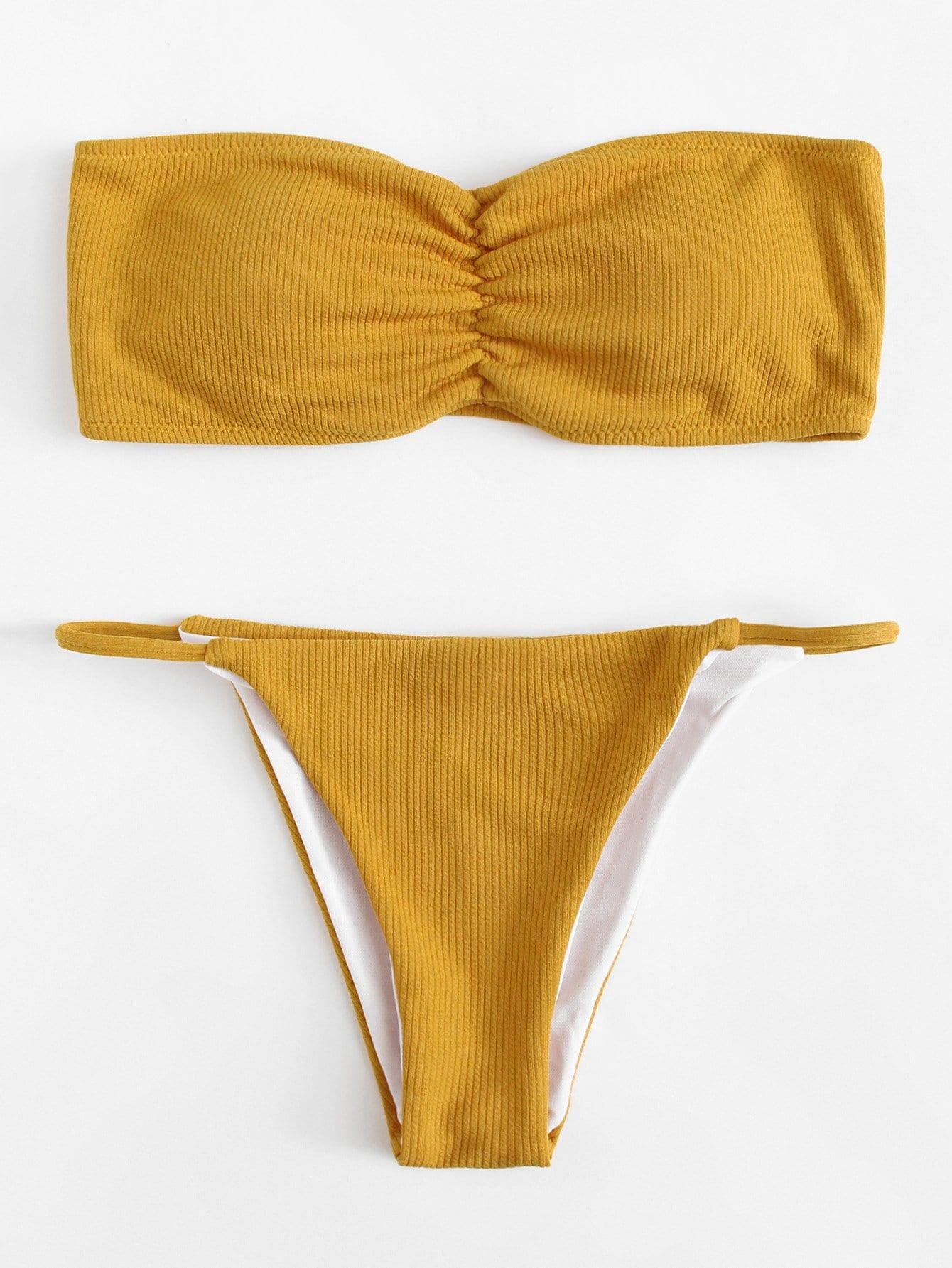 Bandeau Bikini Set embroidery bandeau bikini set