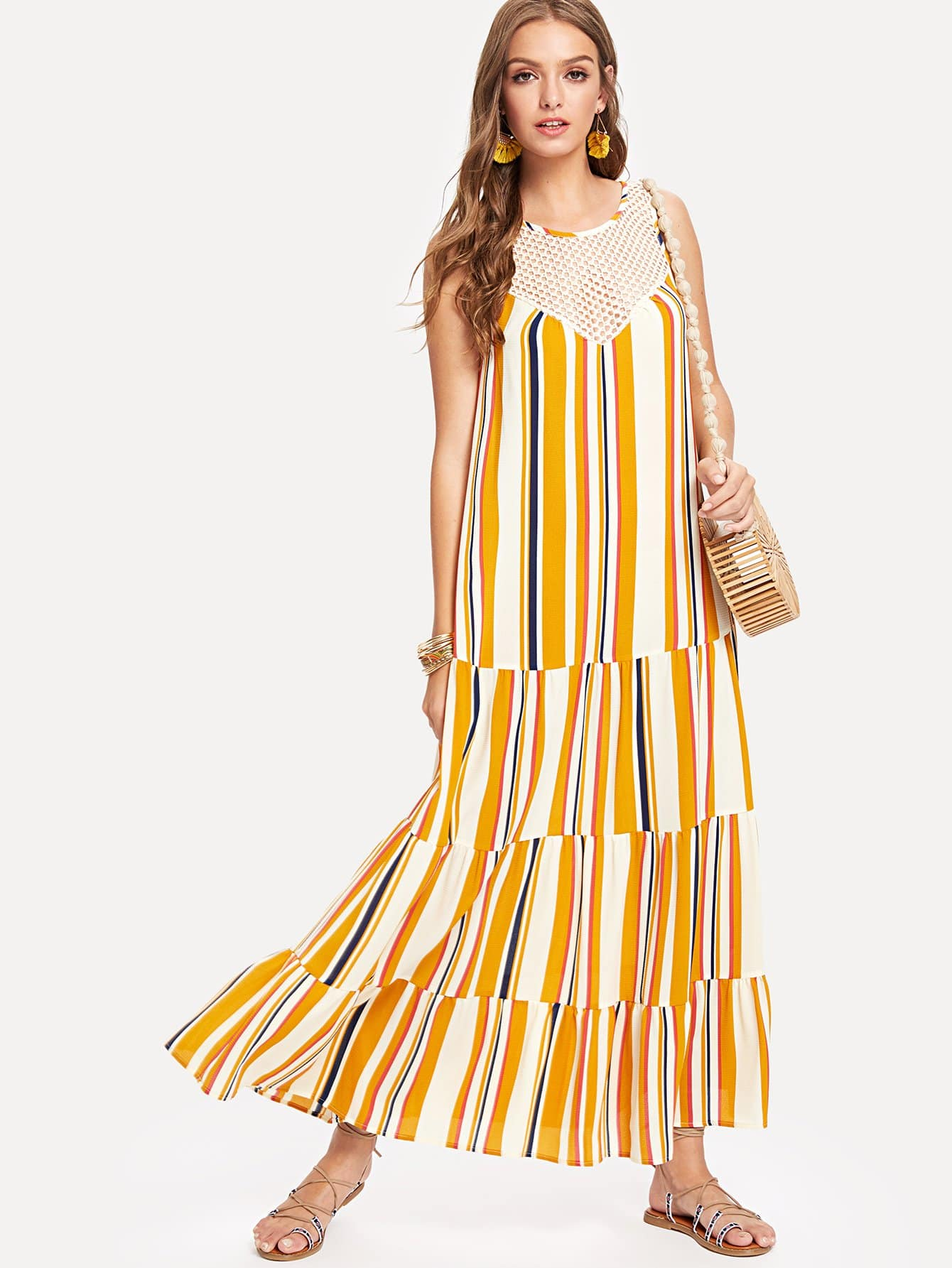 Lace Neck Tiered Striped Dress lace neck tiered striped dress