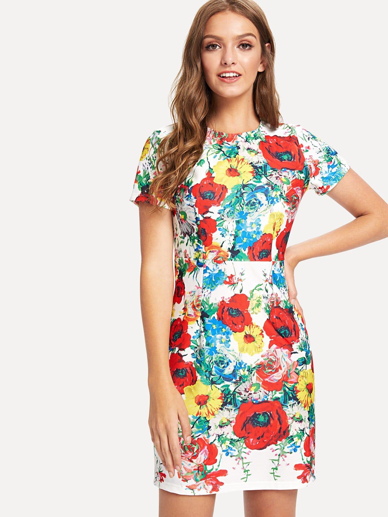 Botanical Print Dress scalloped edge botanical print dress