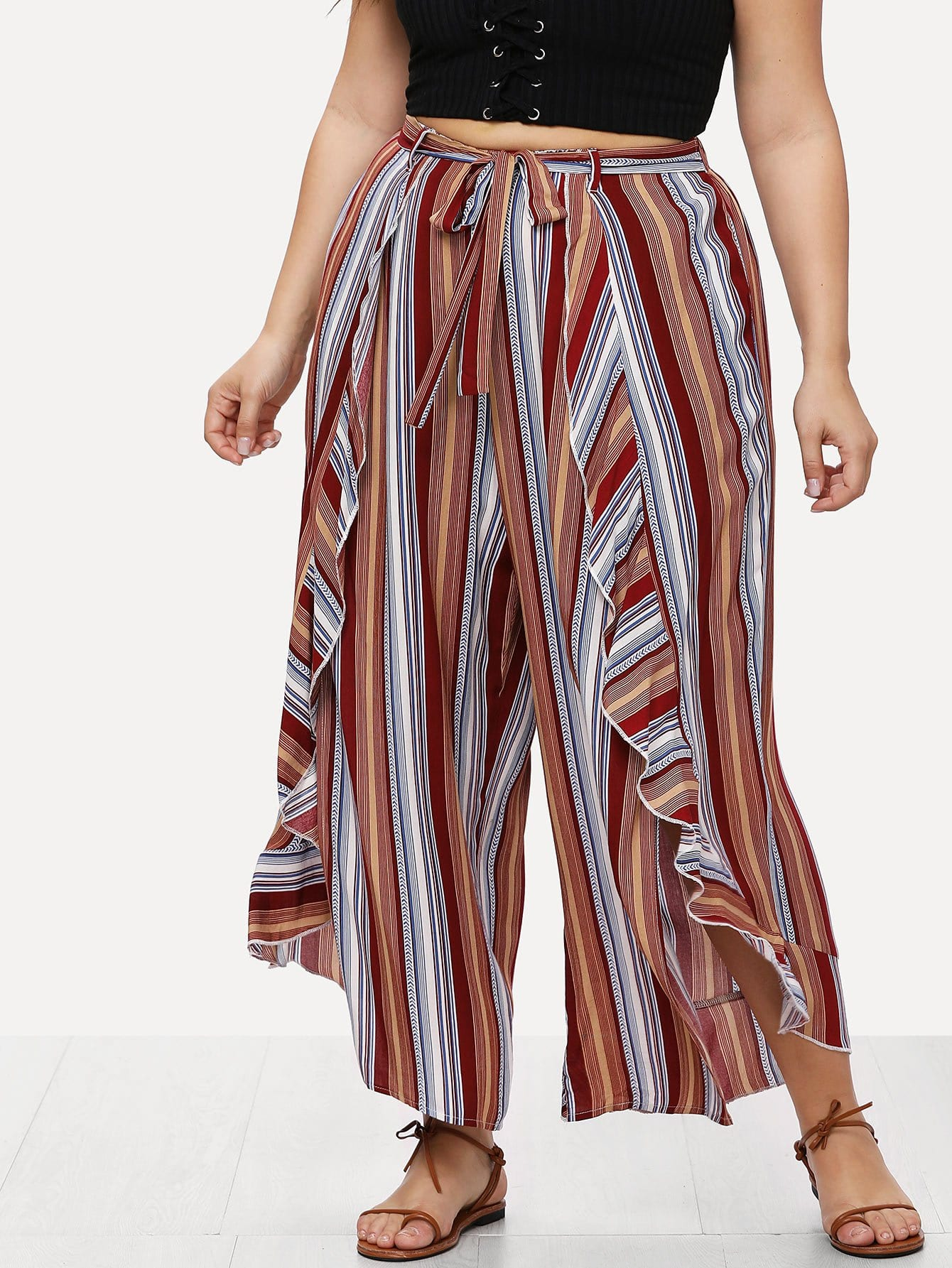 Self Belted Ruffle Trim Striped Palazzo Pants double keyhole belted palazzo jumpsuit