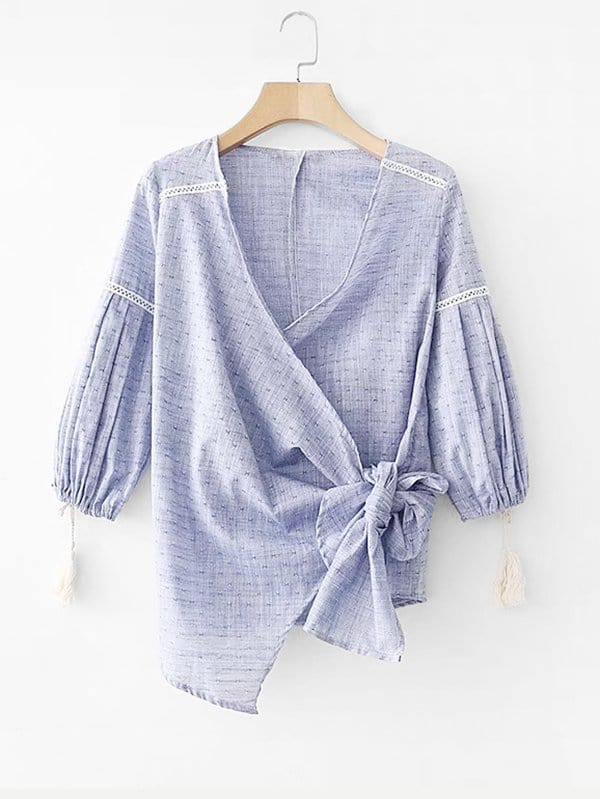 Contrast Lace Wrap Blouse striped wrap blouse