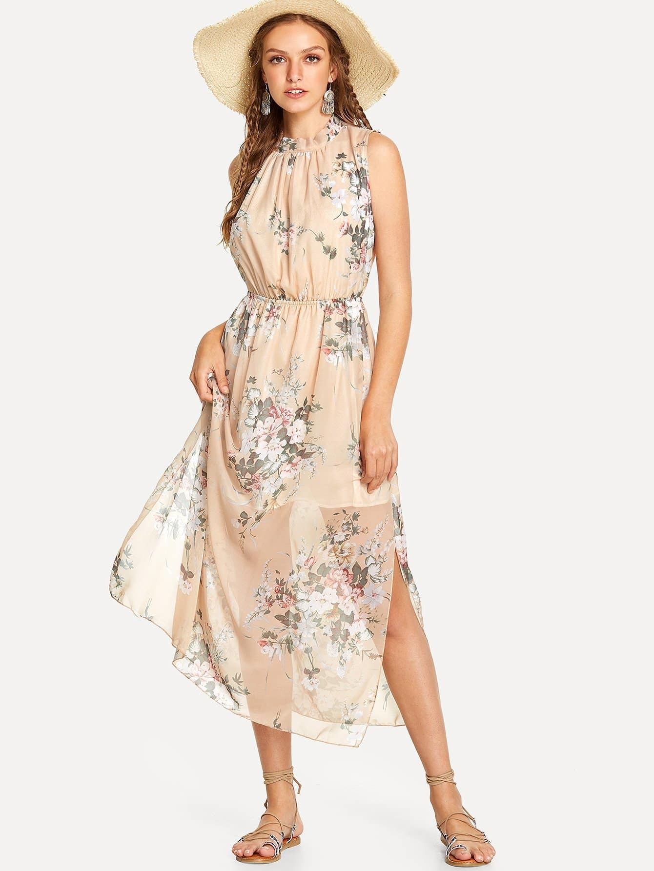 All Over Florals Open Back Chiffon Dress all over florals m slit dress