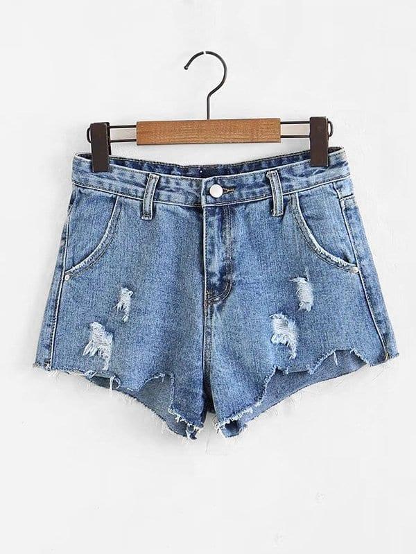 Cut Hem Denim Shorts sweet wavy hem design striped shorts for women