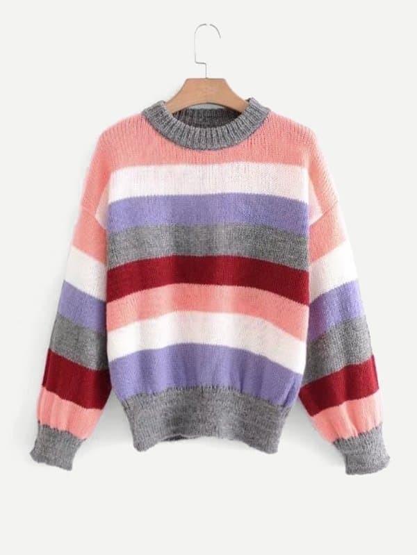 Multi-Stripe Drop Shoulder Jumper two tone drop shoulder sweatshirt