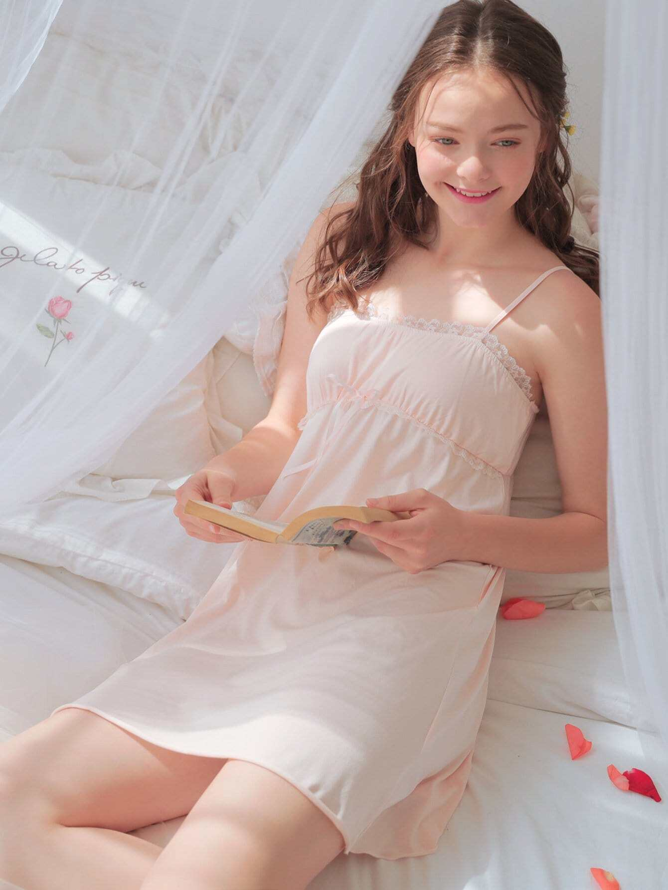Lace Trim Knot Night Dress