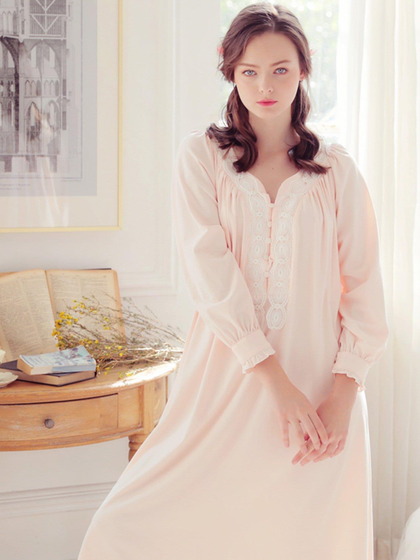 Lace Trim Frill Detail Night Dress pearl detail frill off shoulder dress