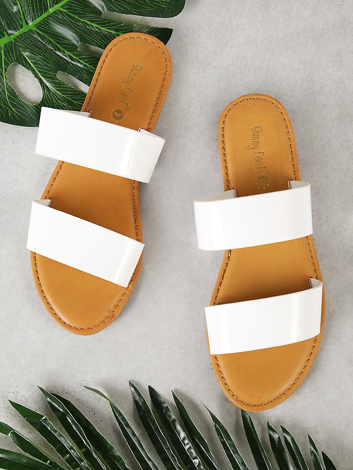 Patent Double Band Slide Sandal шлепанцы женские soludos knotted slide sandal ivory