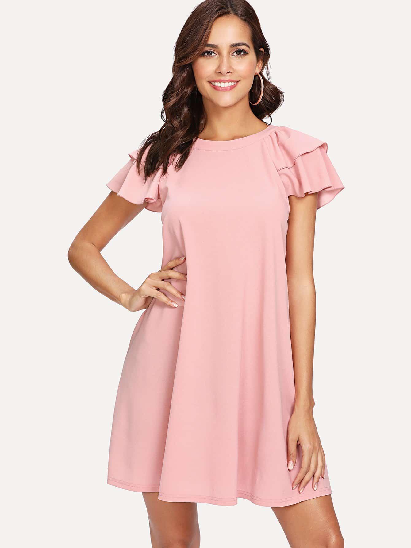 Flutter Sleeve Solid Swing Dress long sleeve solid swing dress