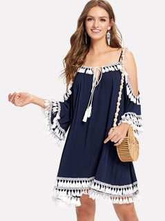 Open Shoulder Tassel Hem Swing Dress