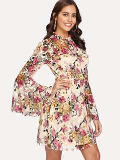 Trumpet Sleeve Frill Detail Floral Dress