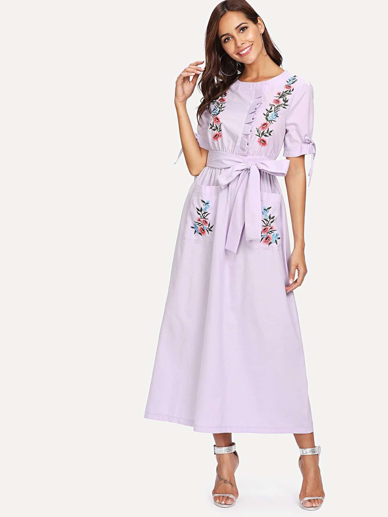 Купить Платье с вышивкой и узелком, Giulia, SheIn