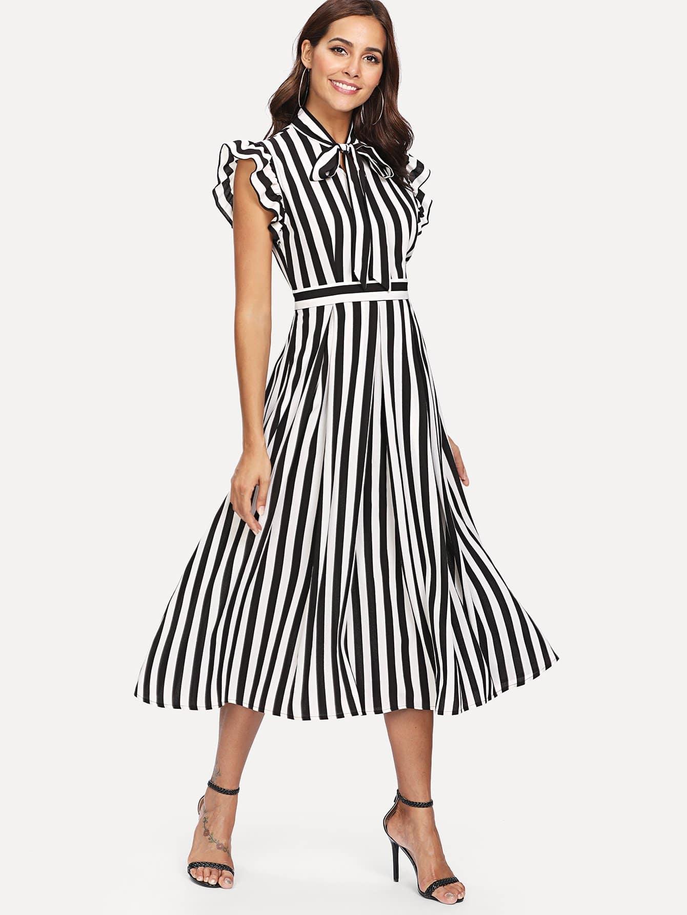 Купить Платье с полосками и оборками, Giulia, SheIn