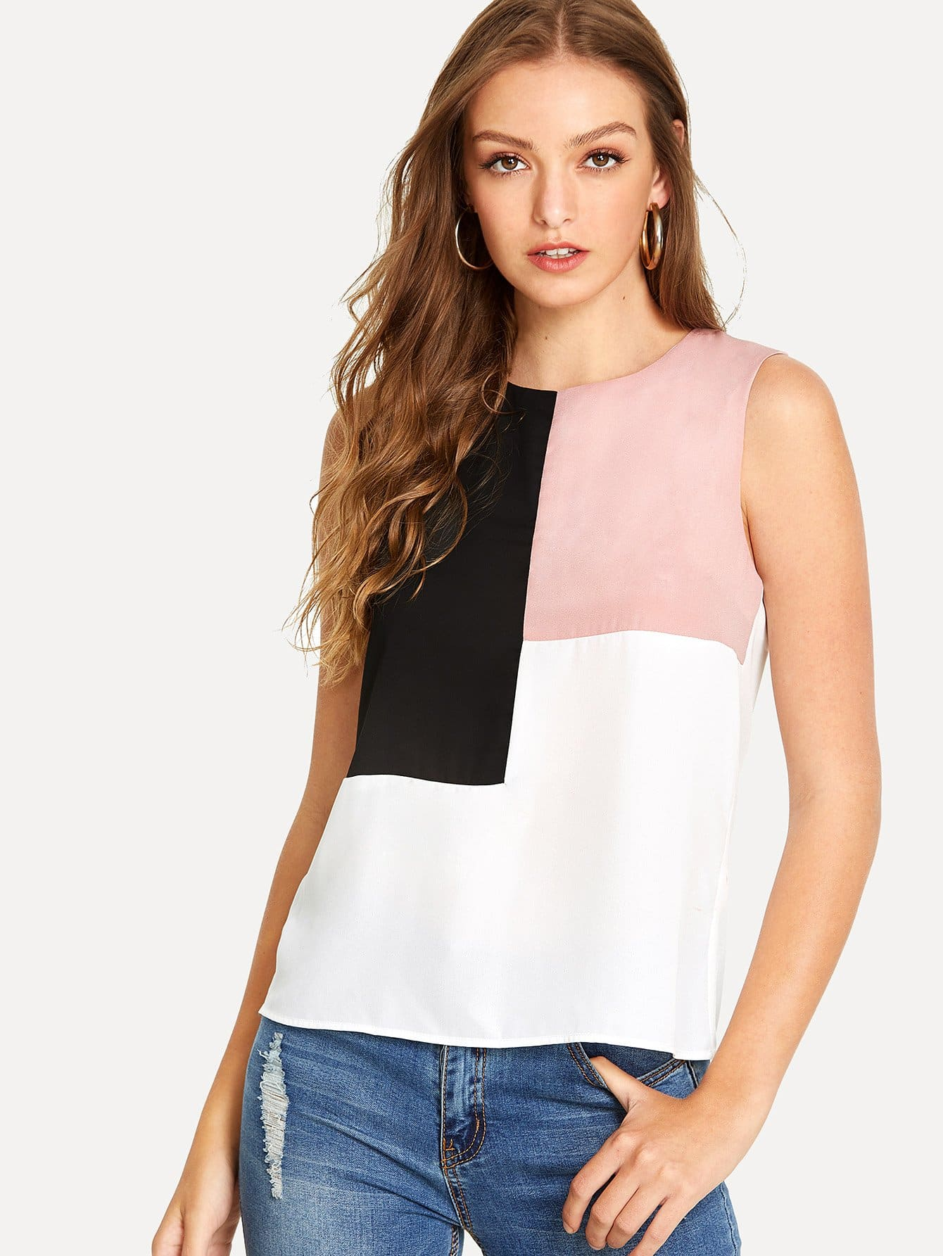 Cut and Sew Keyhole Back Top cut and sew keyhole back top