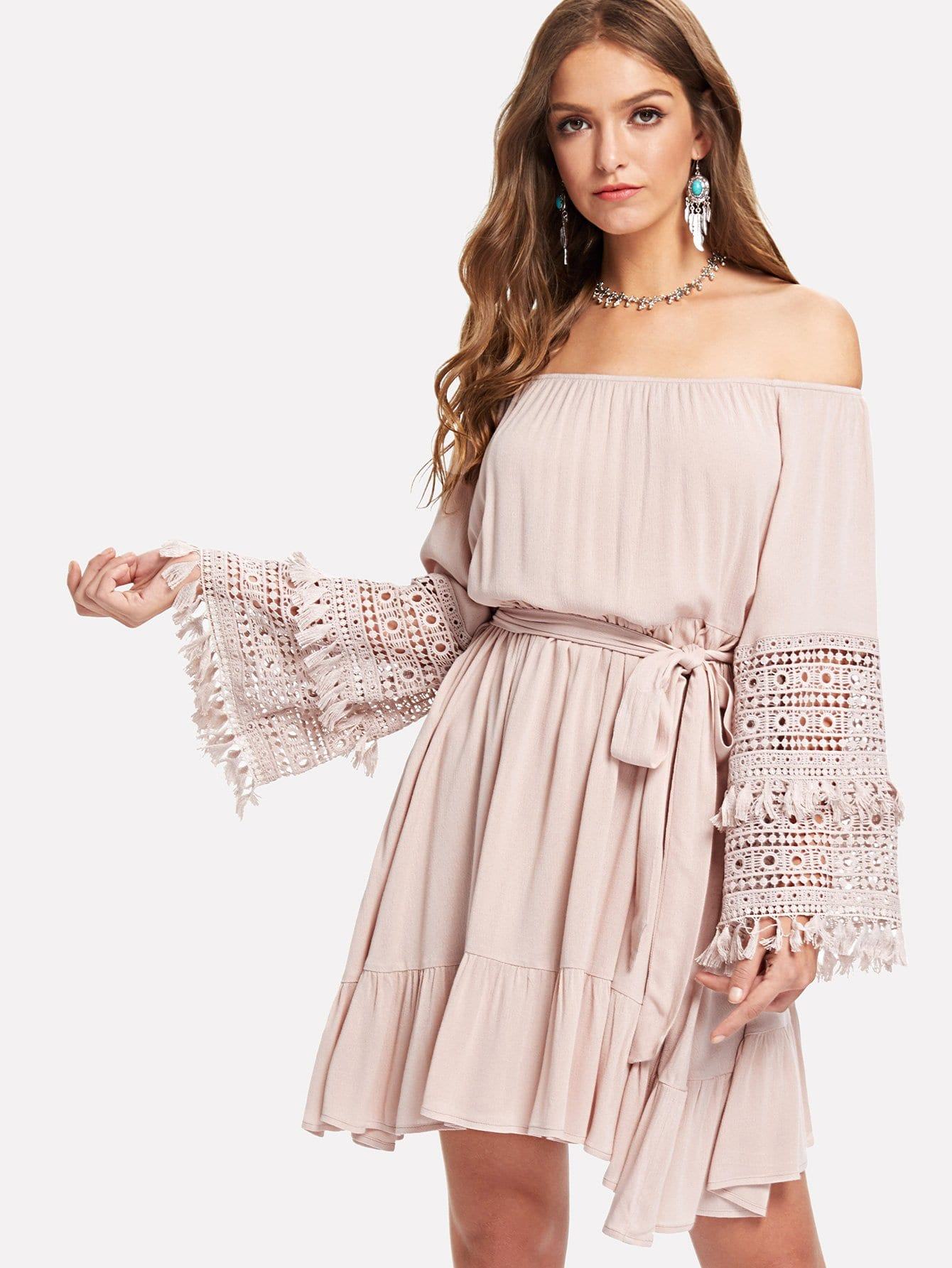 Tassel Detail Eyelet Lace Bell Sleeve Belted Bardot Dress scallop detail bell sleeve dress