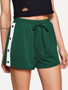 Buttoned Contrast Side Drawstring Shorts