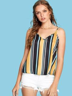 Double V Neckline Striped Cami Top