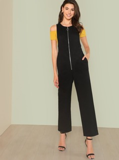 O-Ring Zip Front Sleeveless Jumpsuit